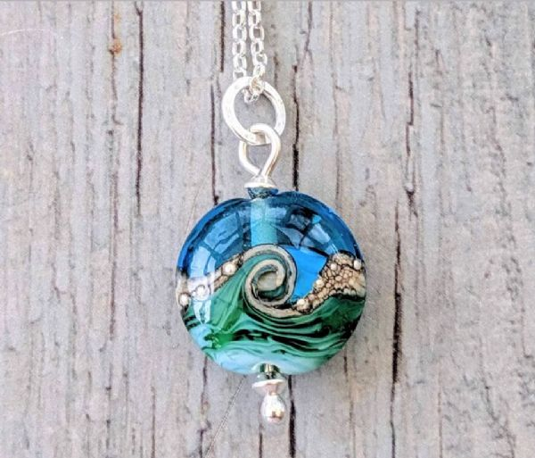 "Deep Blue Sea: Beach Babe Lentil Pendant (18"" chain)"